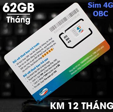 sim 3g/4g viettel 62Gb/tháng tốc độ cao