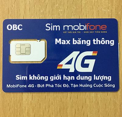sim 3g/4g mobifone 4000Gb max băng thông